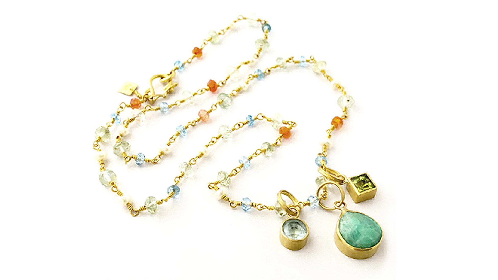 Custom Blue Topaz, Chrysoprase, Peridot Pendant in 22k Gold Mother's Necklace | Katy Beh Jewelry New Orleans 6x6x72-1