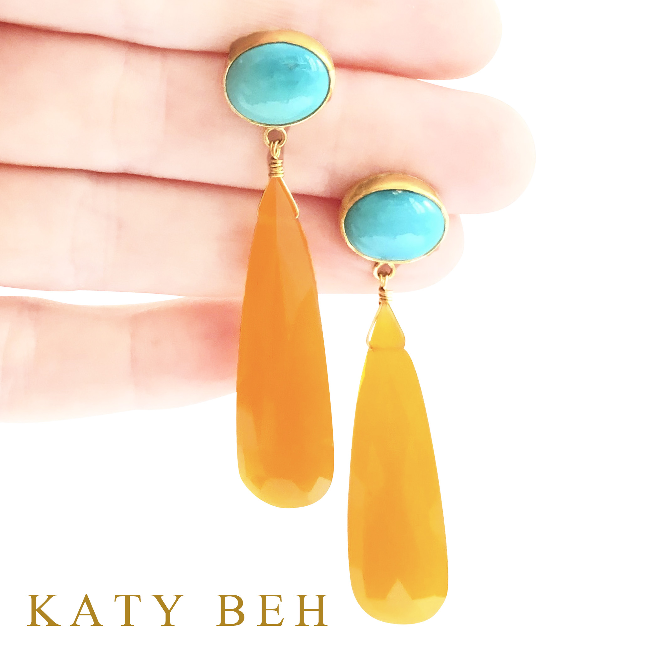 Gloria_Turquoise_Orange_Chalcedony_Earrings_22k_Gold_Katy_Beh_Jewelry_New_Orleans_3