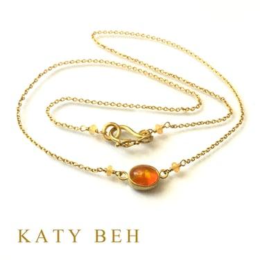 Honey Orange Fire Welo Opal 22k Gold Necklace Katy Beh