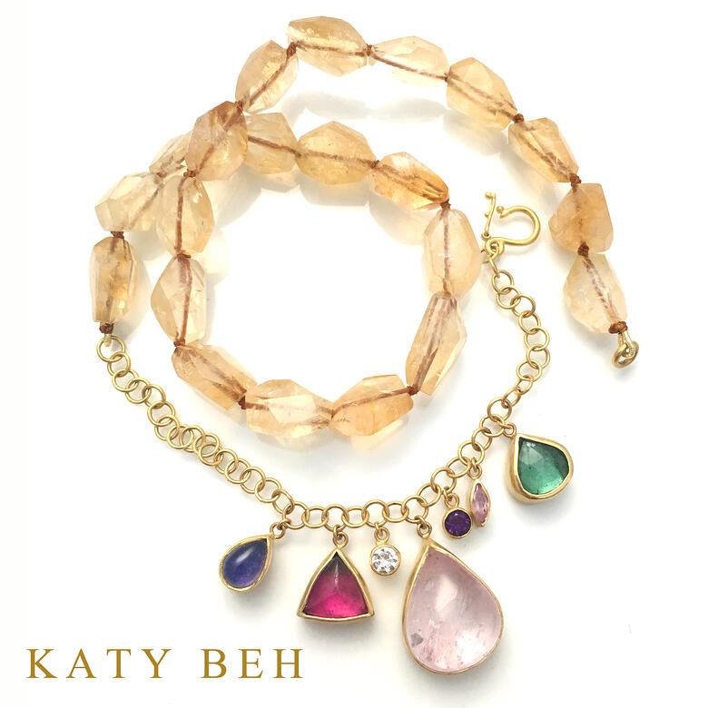 Taylor Multi Gemstone Necklace 22k Gold Katy Beh Jewelry New Orleans