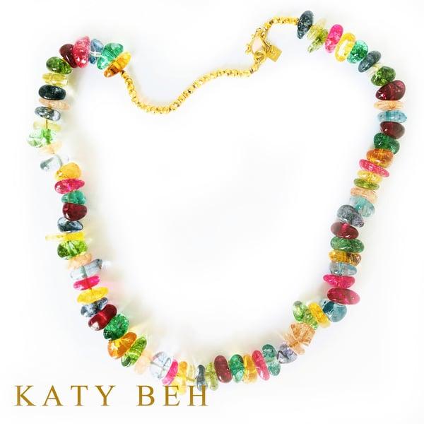 Jolly Rancher Tourmaline Quartz Golden Pyrite Necklace 22k Gold Katy Beh Jewelry New Orleans