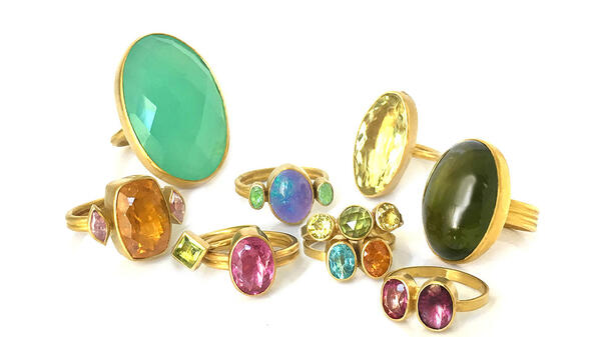 Katy Beh Jewelry 22k Colored Gemstone Rings New Orleans
