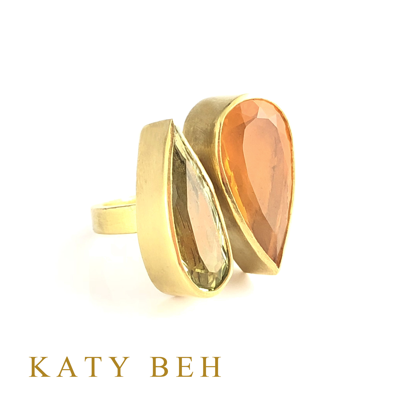 Katy Beh Jewelry New Orleans Sabina Golden Beryl Fire Opal 22k Gold Ring