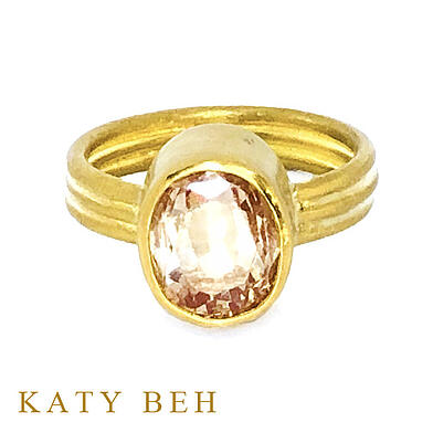 Louise Peach Padparadscha Sapphire 22k Gold Ring Katy Beh Jewelry New Orleans 4 small