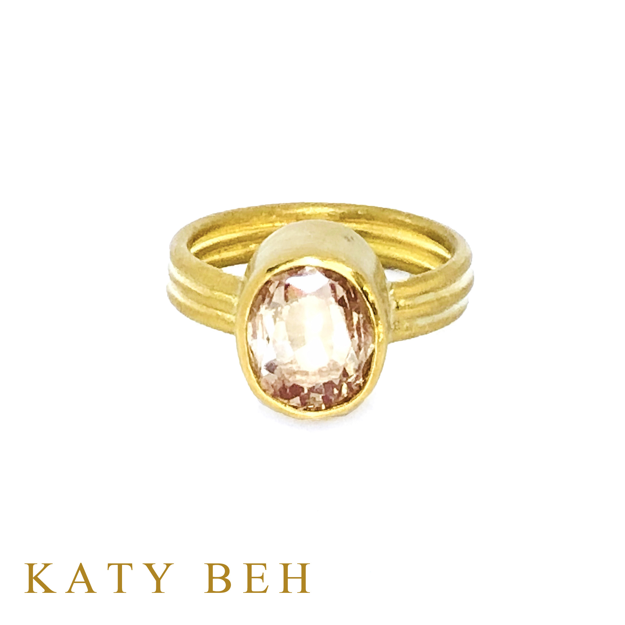 Louise Peach Padparadscha Sapphire 22k Gold Ring Katy Beh Jewelry New Orleans 4