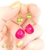 Martha Peridot Pink Chalcedony 22k Gold Earrings Katy Beh Jewelry New Orleans 3