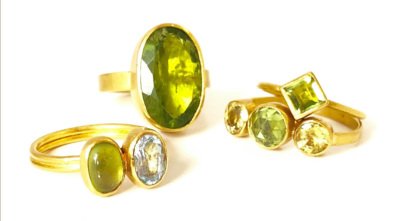 Peridot 22k Gold Rings Katy Beh Jewelry New Orleans