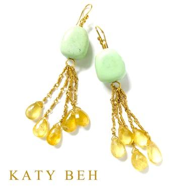 Apollonia Gaspeite Yellow Aquamarine Earrings 22k Gold Katy Beh Jewelry New Orleans