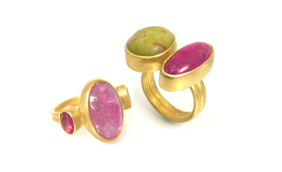 Rubellite Gemstone 22k Gold Rings by Katy Beh Jewelry New Orleans